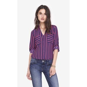 Express Portofino Shirt Pink and Blue Striped